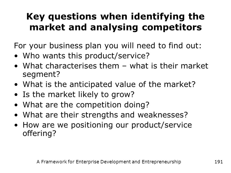 Key questions when identifying the market and analysing competitors
