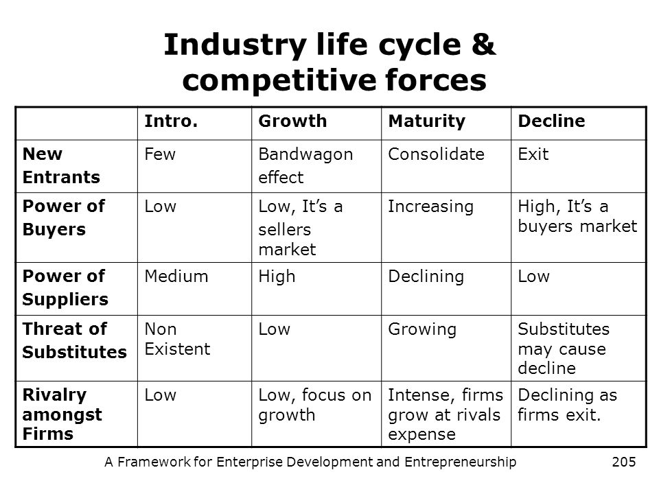Industry life cycle & competitive forces