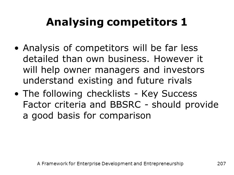 Analysing competitors 1