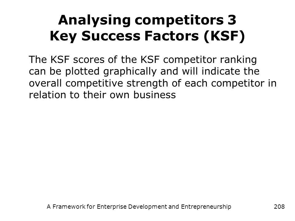 Analysing competitors 3 Key Success Factors (KSF)