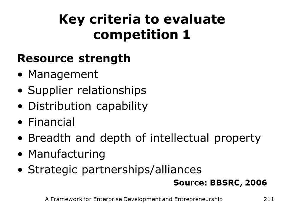 Key criteria to evaluate competition 1