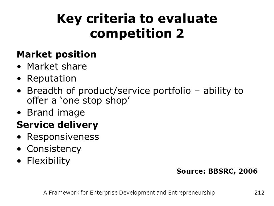 Key criteria to evaluate competition 2