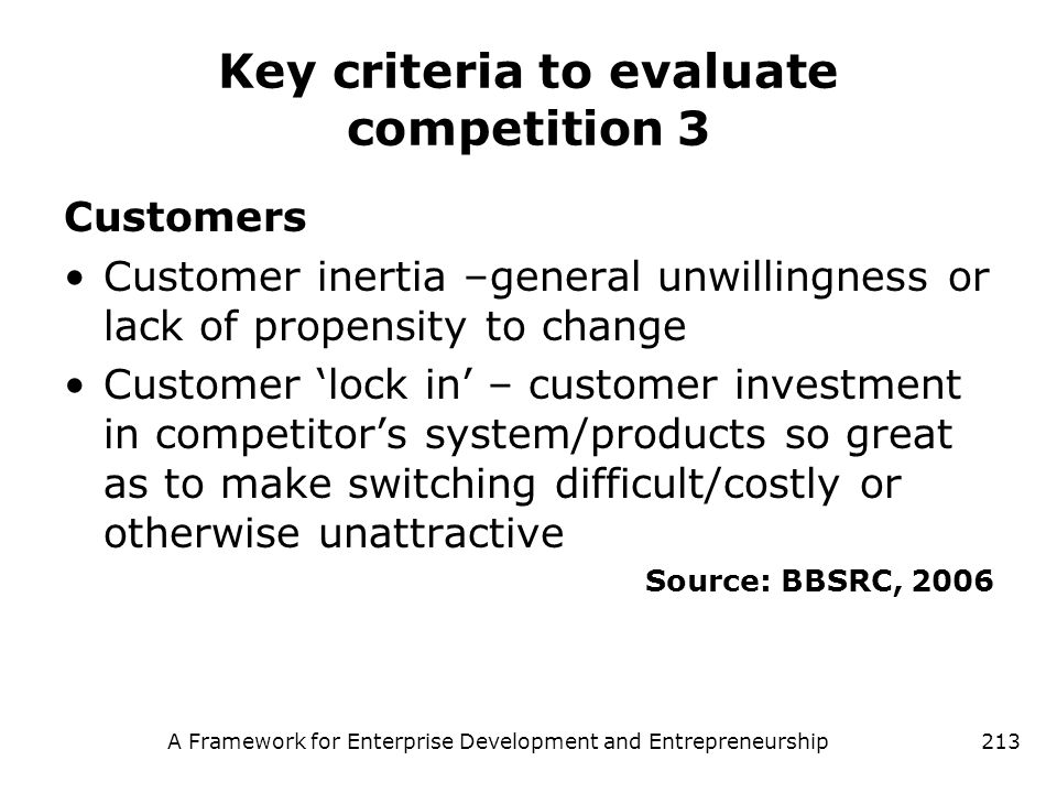 Key criteria to evaluate competition 3