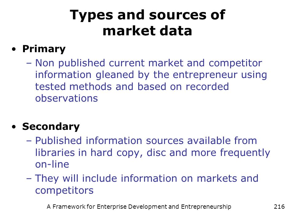 Types and sources of market data