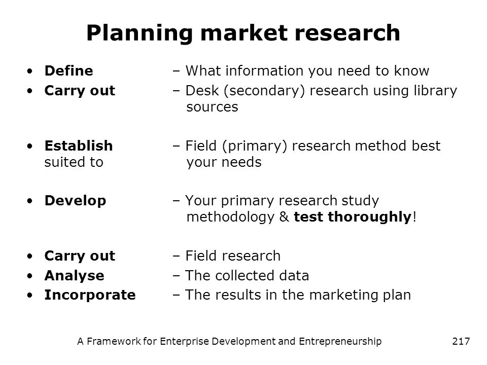 Planning market research