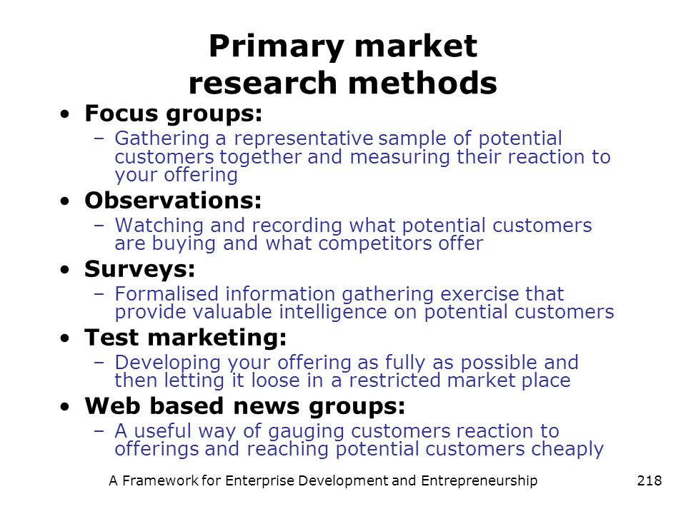 Primary market research methods