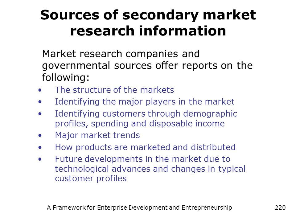 Sources of secondary market research information