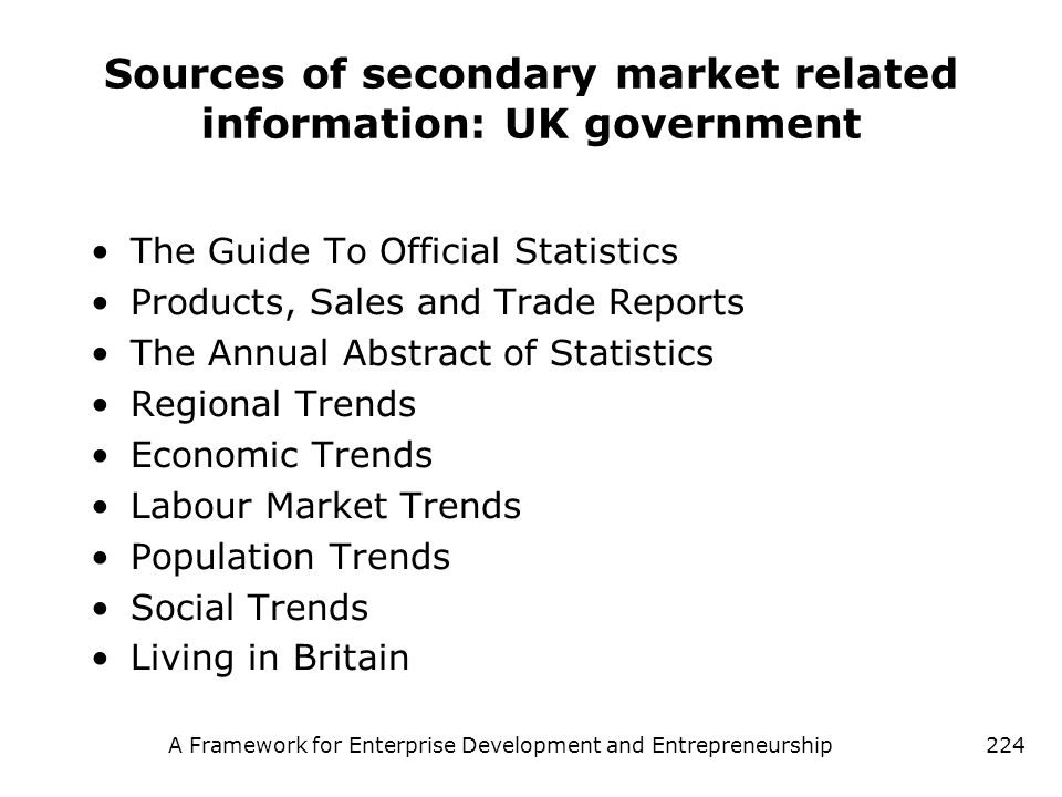 Sources of secondary market related information: UK government