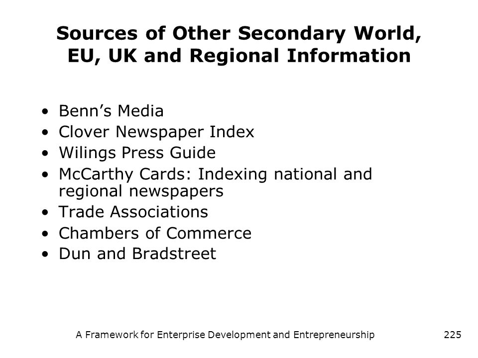 Sources of Other Secondary World, EU, UK and Regional Information