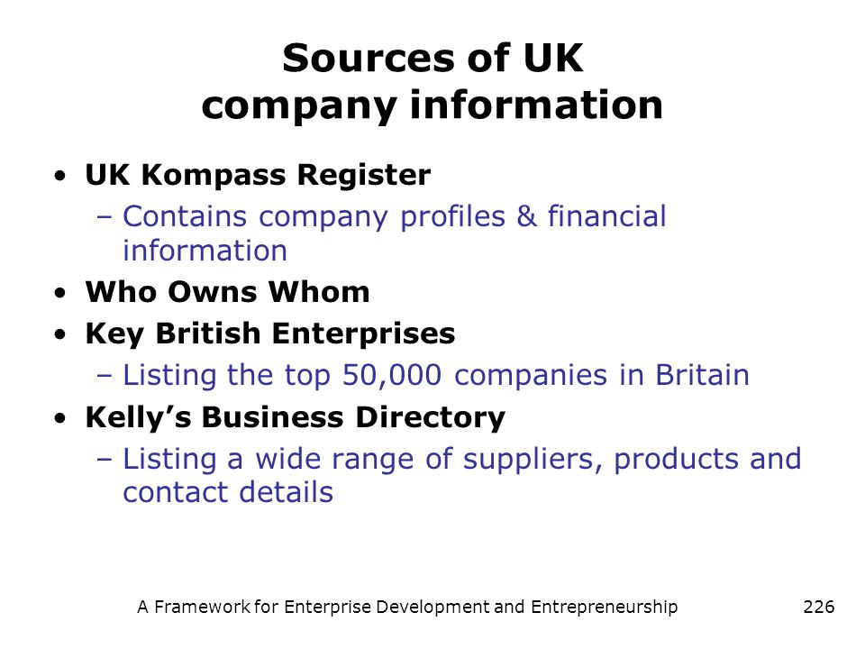Sources of UK company information