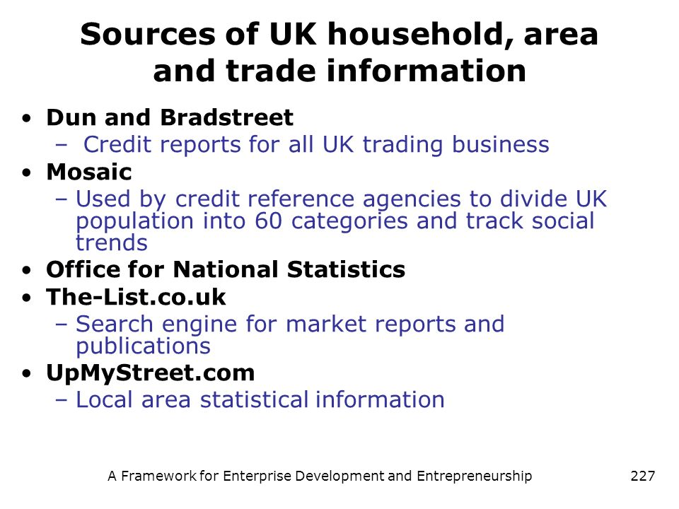 Sources of UK household, area and trade information