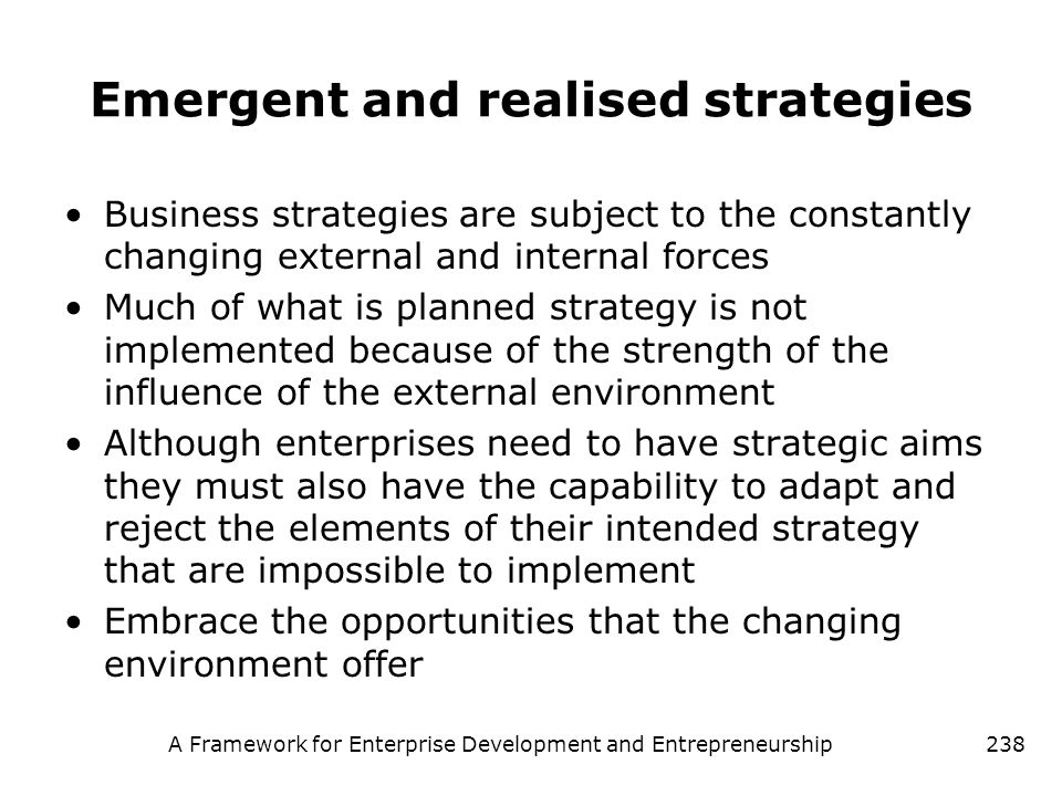 Emergent and realised strategies