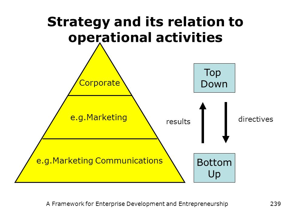 Strategy and its relation to operational activities