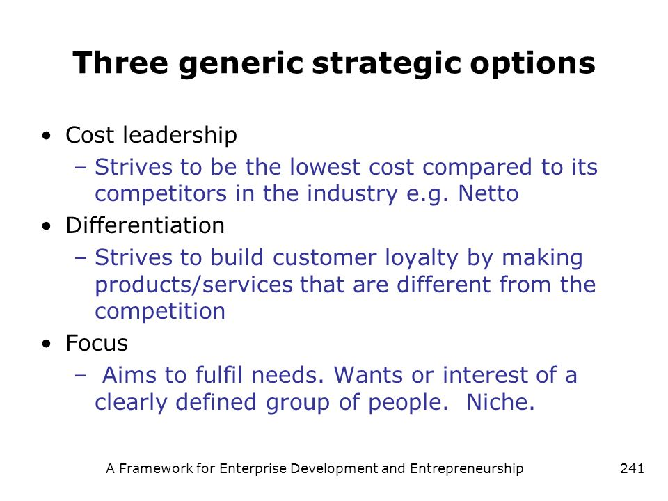 Three generic strategic options