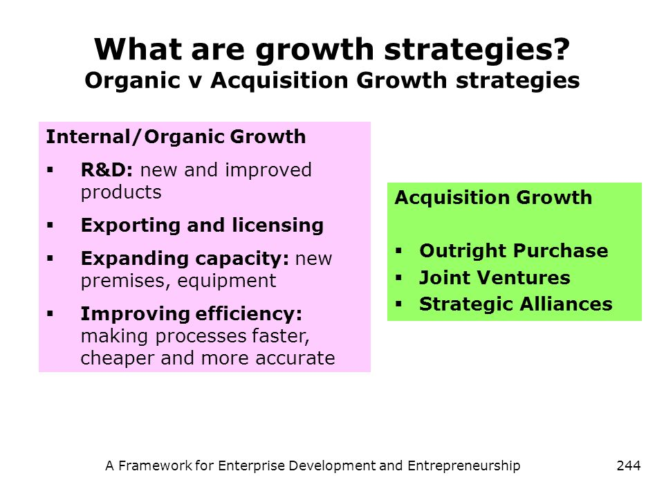 What are growth strategies Organic v Acquisition Growth strategies