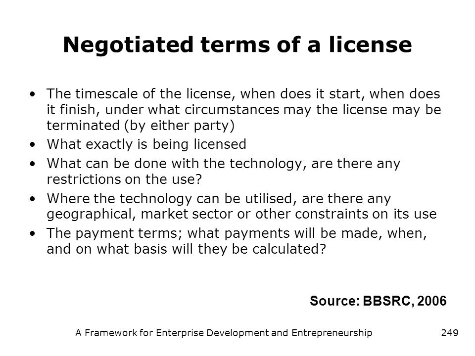 Negotiated terms of a license