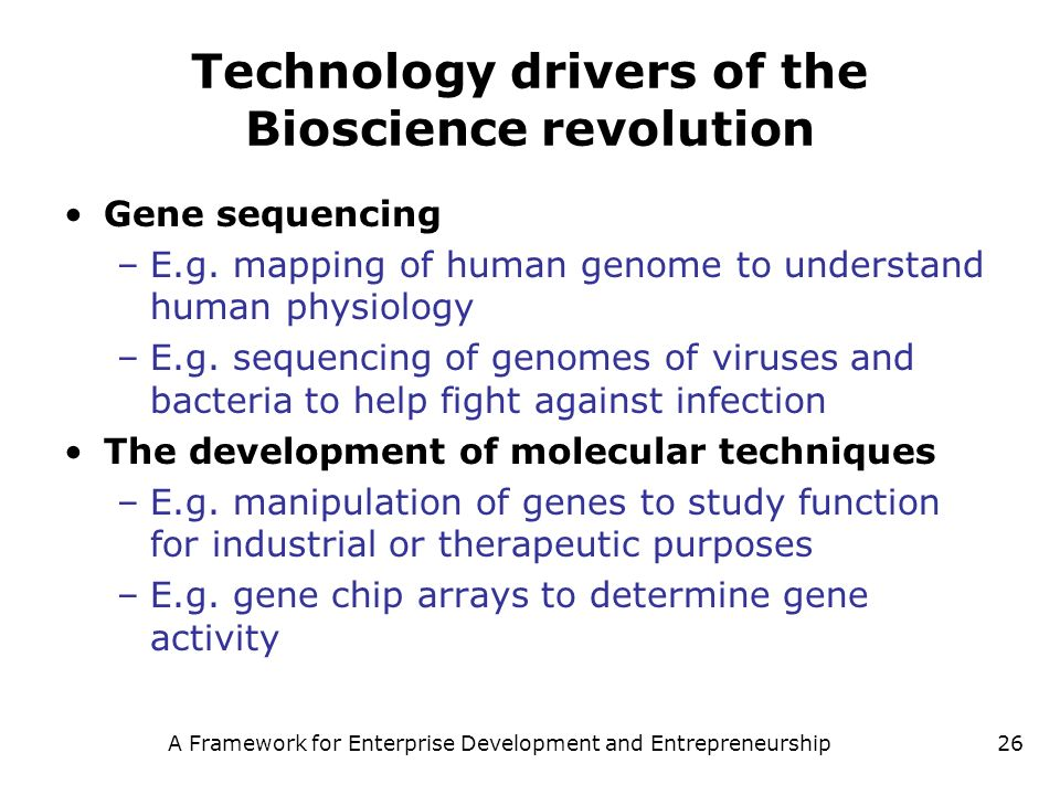 Technology drivers of the Bioscience revolution