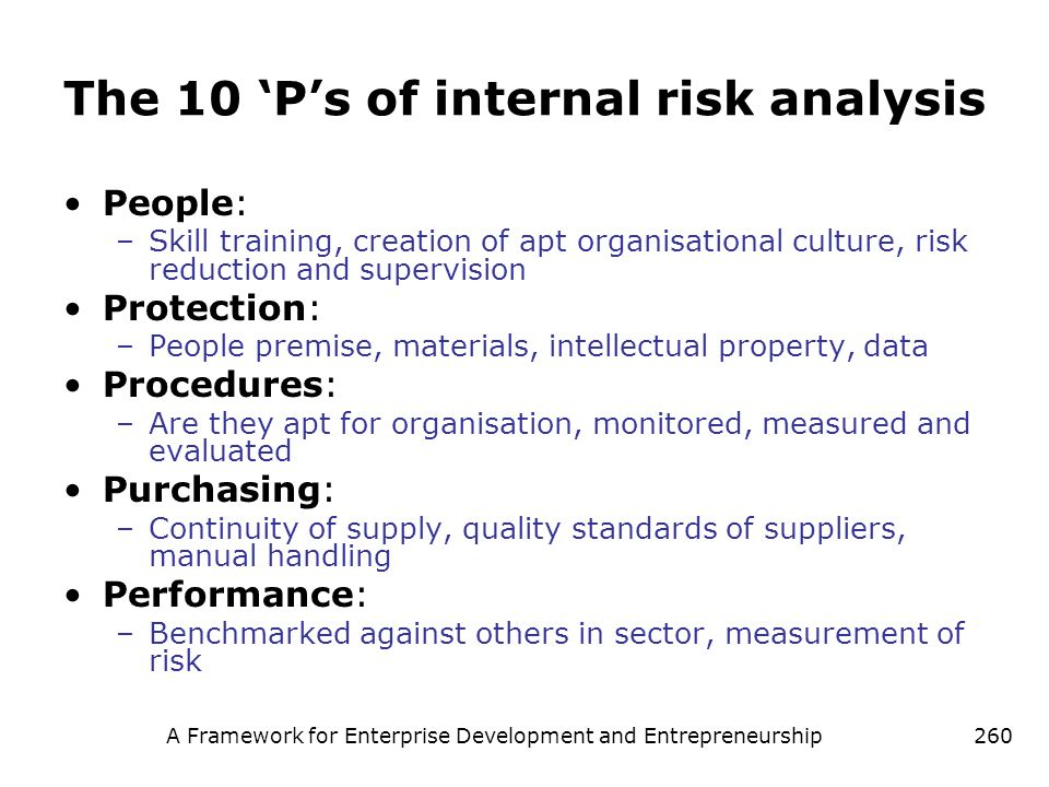 The 10 'P's of internal risk analysis