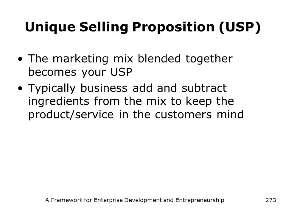 Unique Selling Proposition (USP)