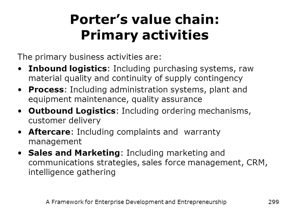 Porter's value chain: Primary activities