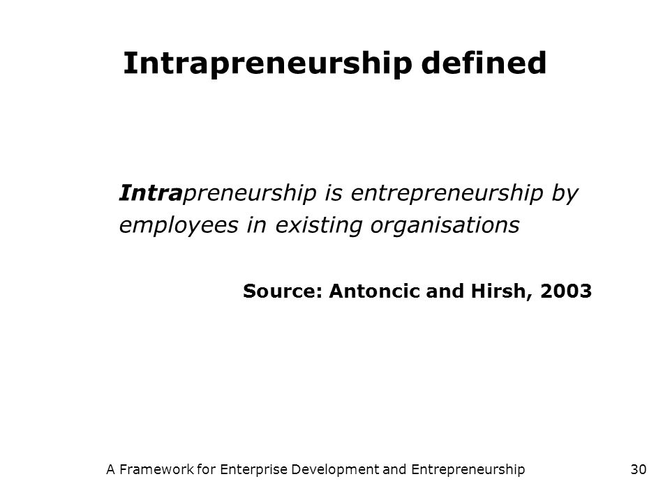 Intrapreneurship defined