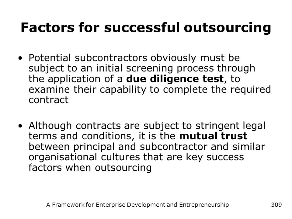 Factors for successful outsourcing
