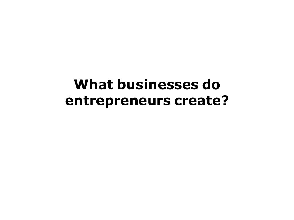What businesses do entrepreneurs create