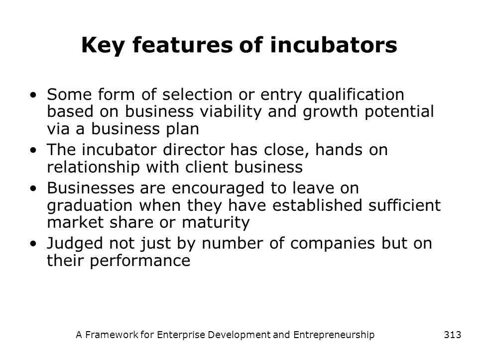 Key features of incubators