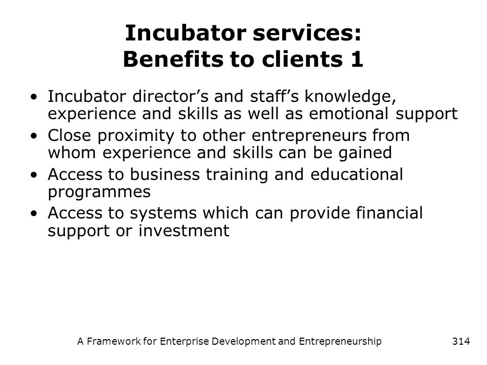 Incubator services: Benefits to clients 1