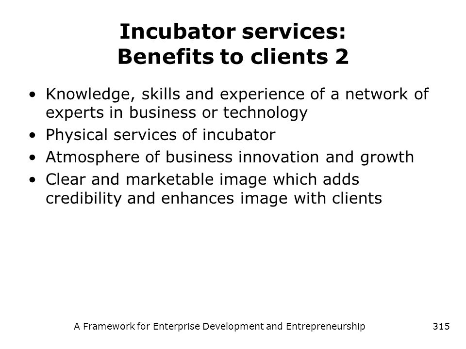 Incubator services: Benefits to clients 2