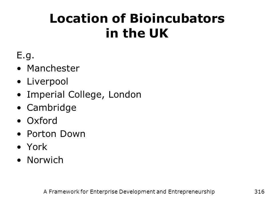 Location of Bioincubators in the UK