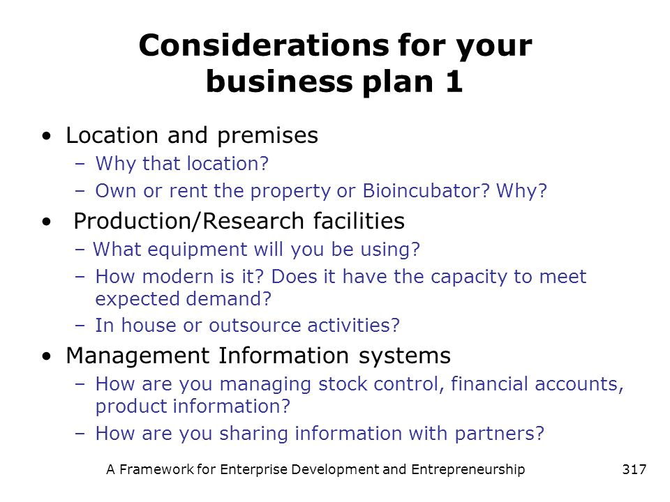 Considerations for your business plan 1