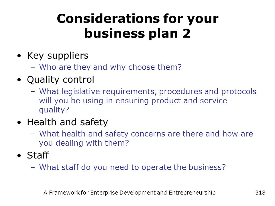Considerations for your business plan 2