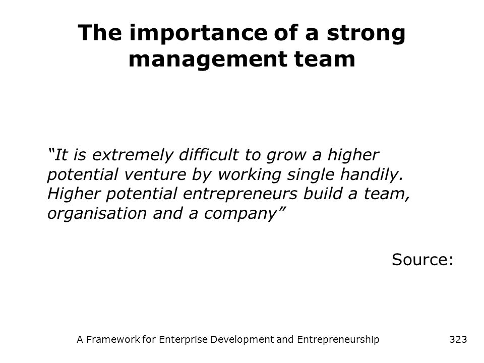 The importance of a strong management team