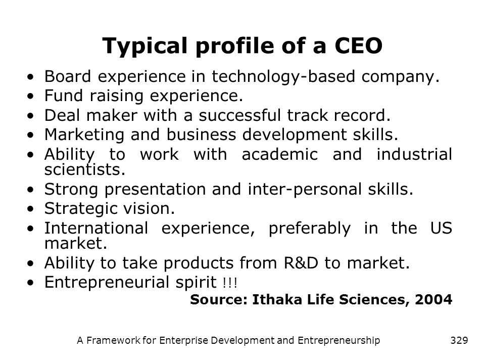 Typical profile of a CEO