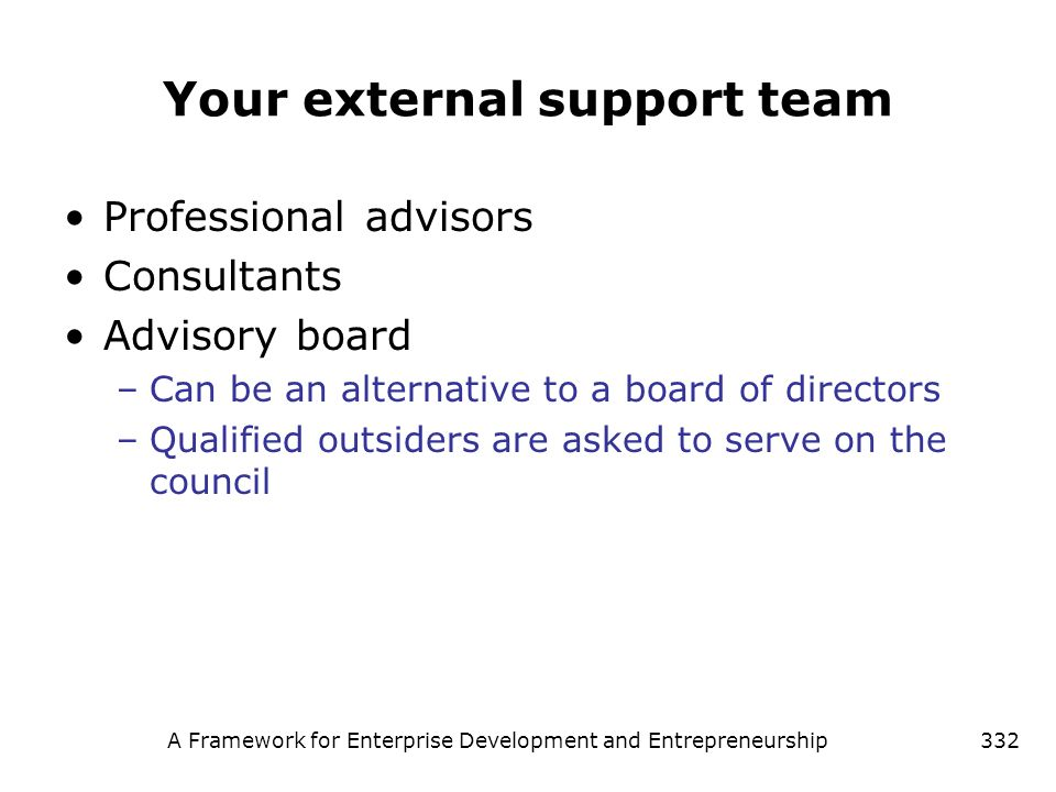 Your external support team