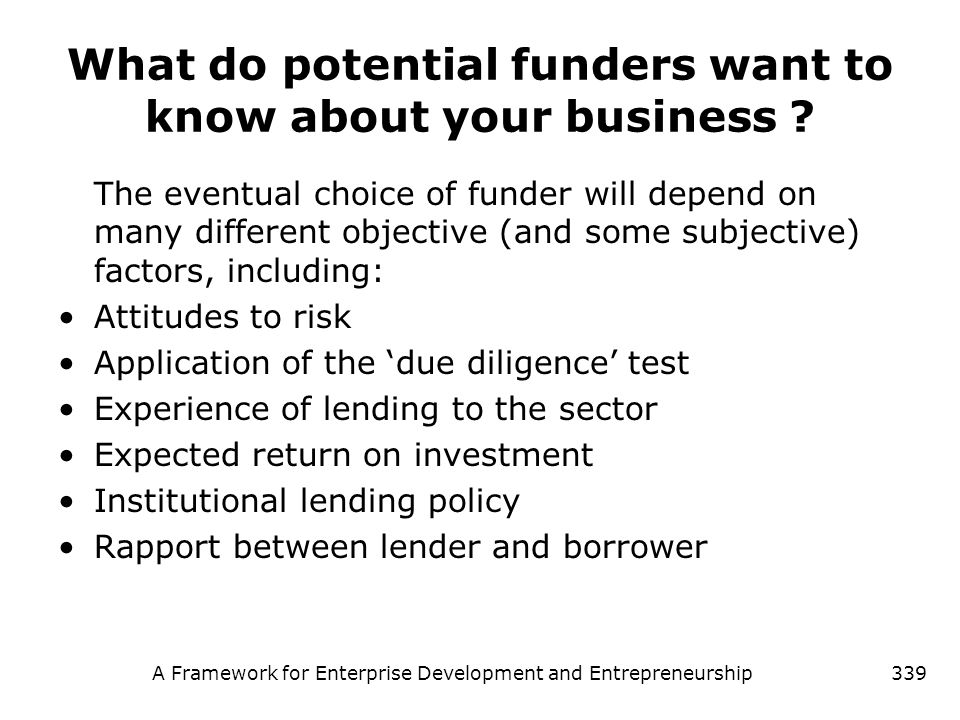 What do potential funders want to know about your business