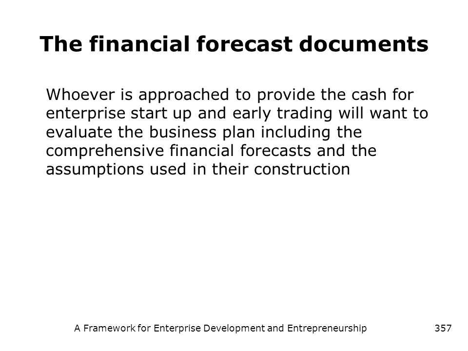 The financial forecast documents