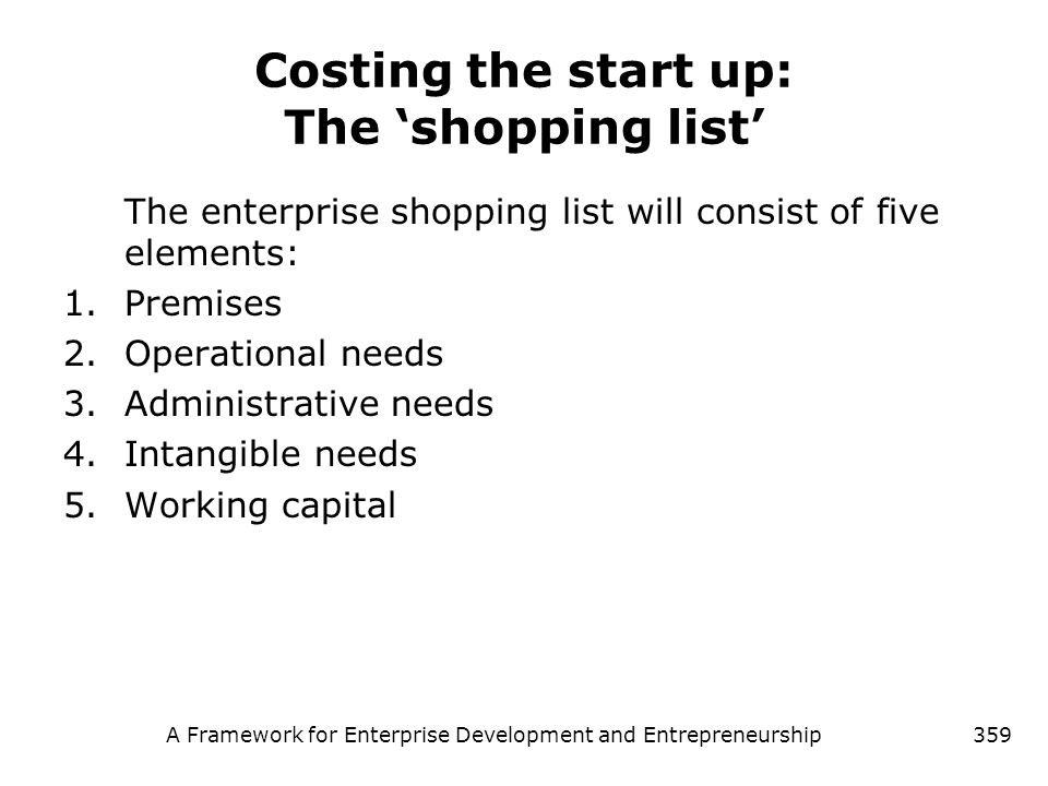 Costing the start up: The 'shopping list'