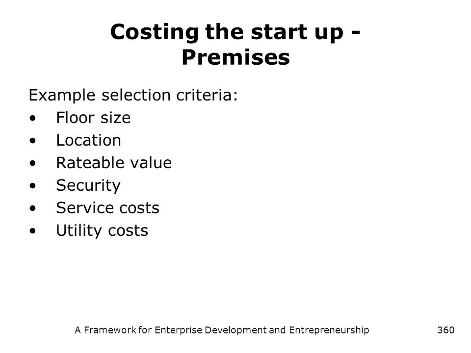 Costing the start up - Premises