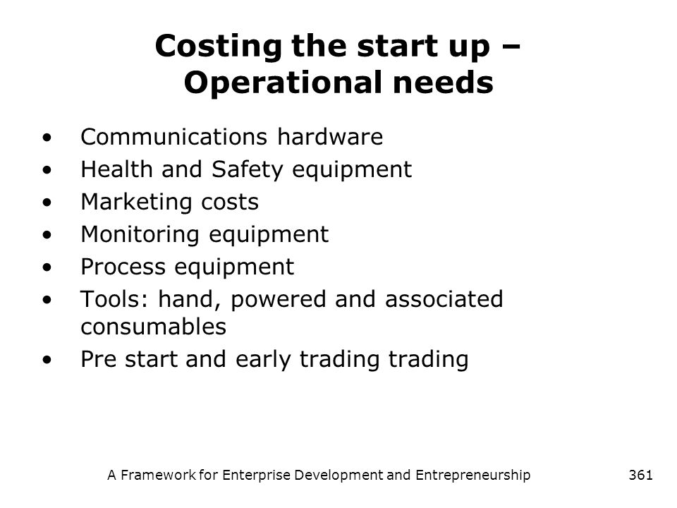 Costing the start up – Operational needs
