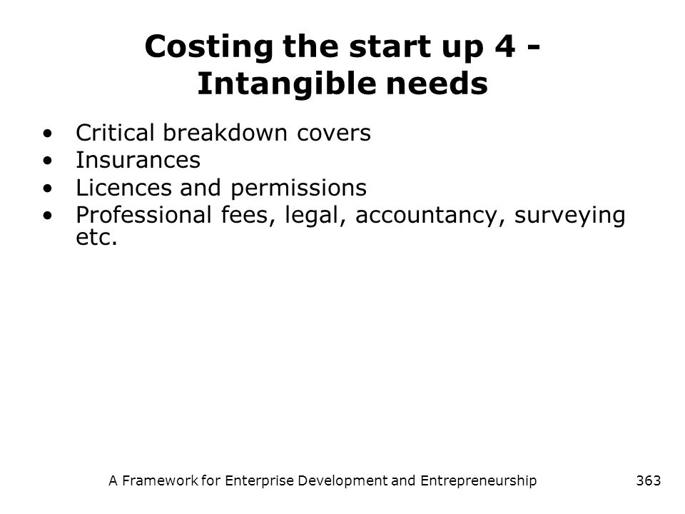 Costing the start up 4 - Intangible needs