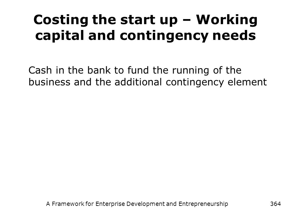 Costing the start up – Working capital and contingency needs