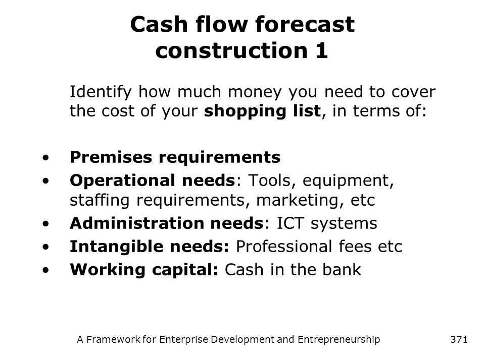 Cash flow forecast construction 1
