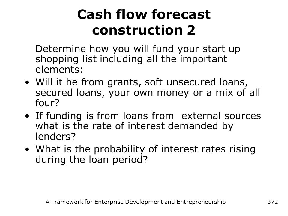 Cash flow forecast construction 2