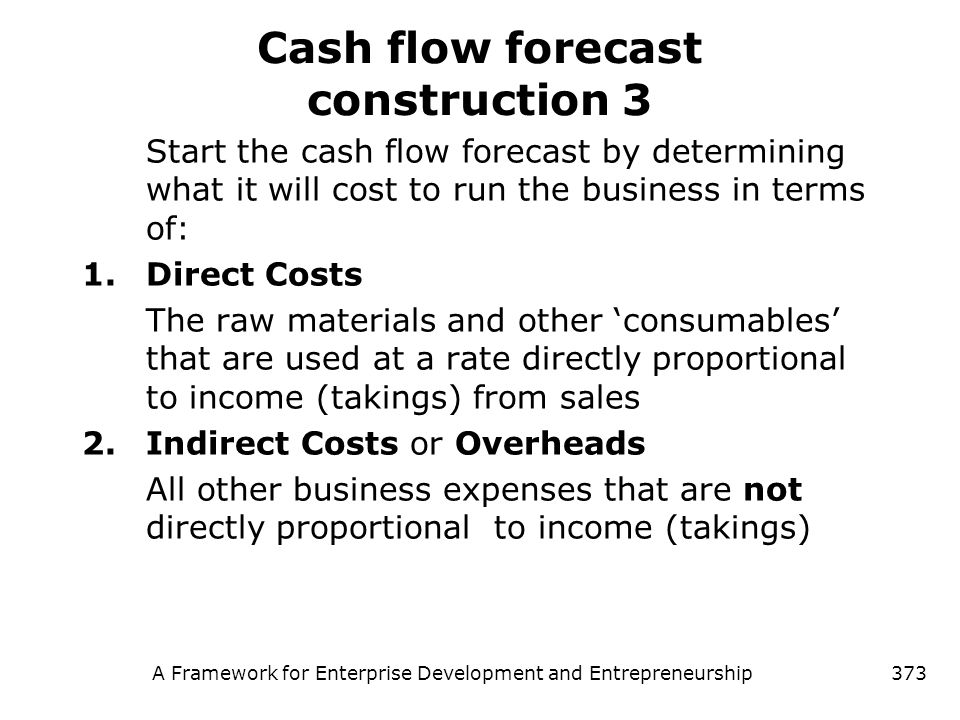 Cash flow forecast construction 3