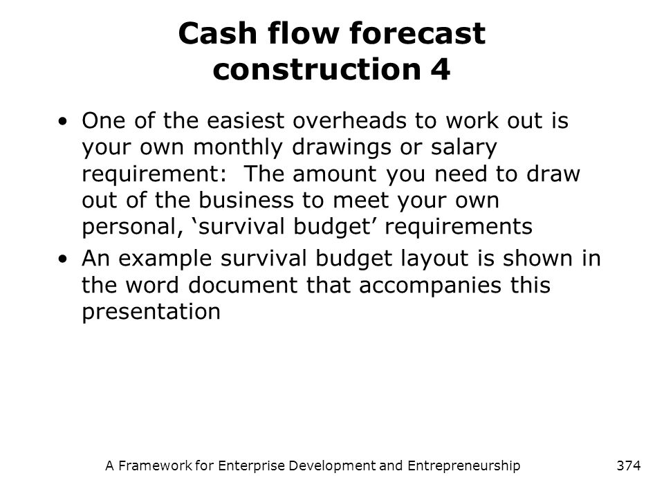 Cash flow forecast construction 4