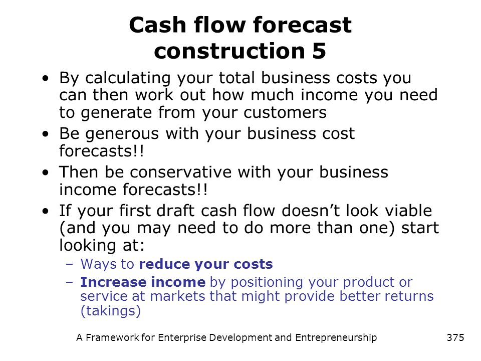 Cash flow forecast construction 5