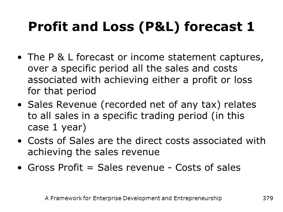 Profit and Loss (P&L) forecast 1