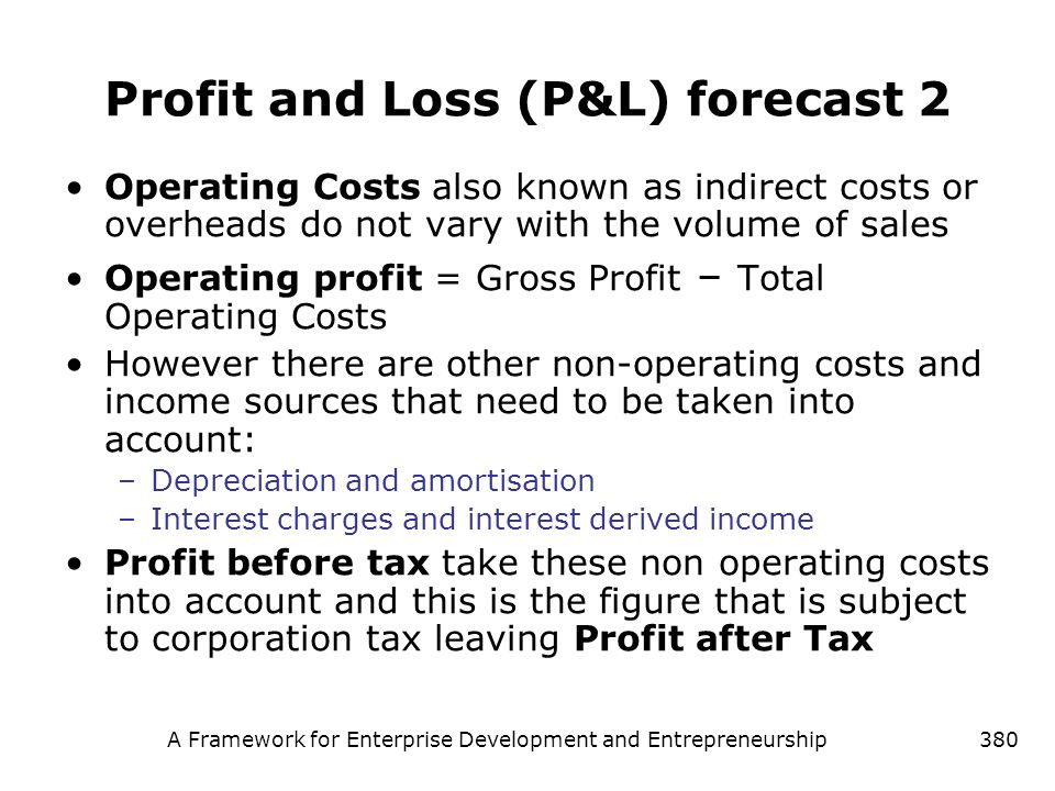 Profit and Loss (P&L) forecast 2